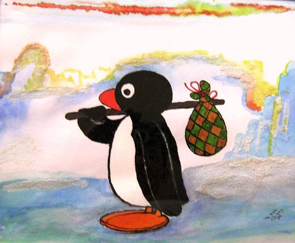 Pingu Run Away (Water Colour Work)