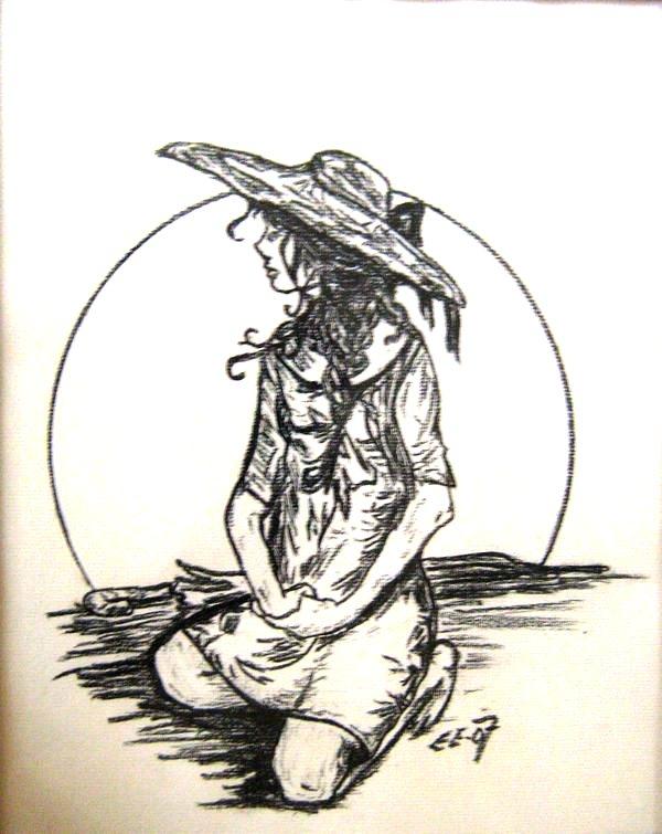 Sun Amusing Girl (Carcoal Pencil Work)