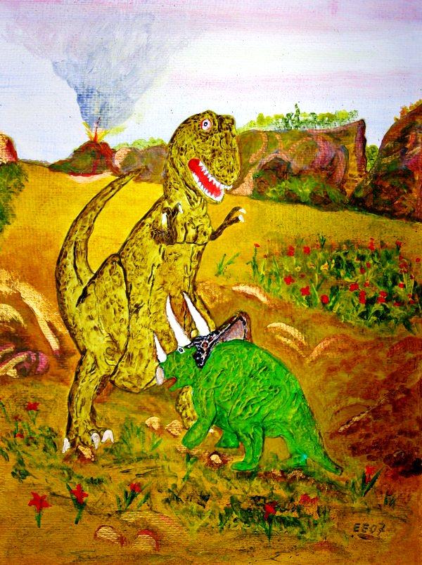 T Rex In Fight (Acrylic Work)