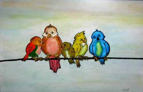 Birds Meeting (Water Colours)