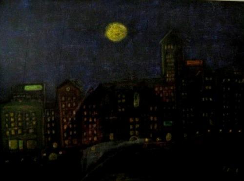 Stockholm By Night Mixed Media (Gesso & Pastel Crayon Work) Inspirated By Mailen Helin!! Thanks For Learning The Tecnique!!!